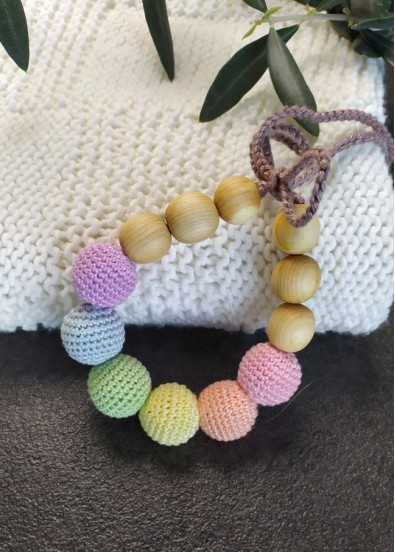 Bracelet d'allaitement et dentition Neutral Rainbow